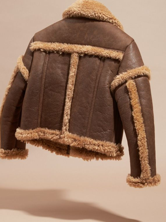 Dark tan Sculptural Shearling Flight Jacket - cell image 3