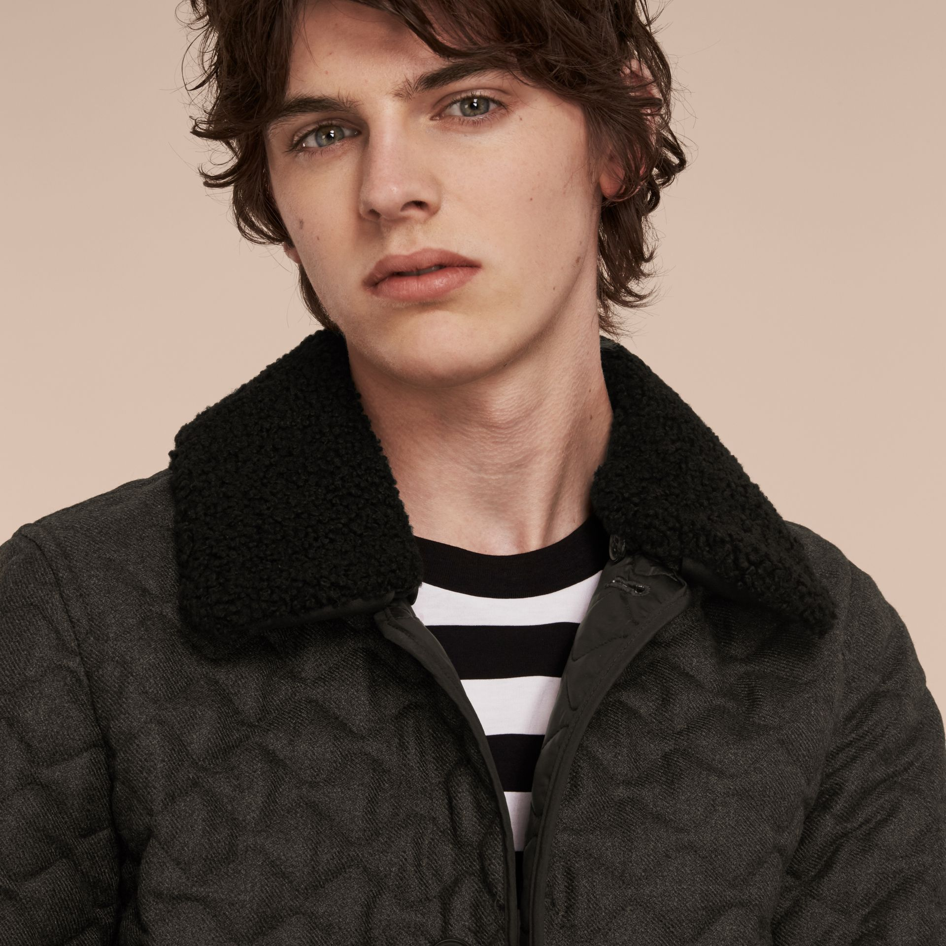 Dark grey melange Quilted Wool Flannel Jacket with Detachable Shearling Collar - gallery image 5