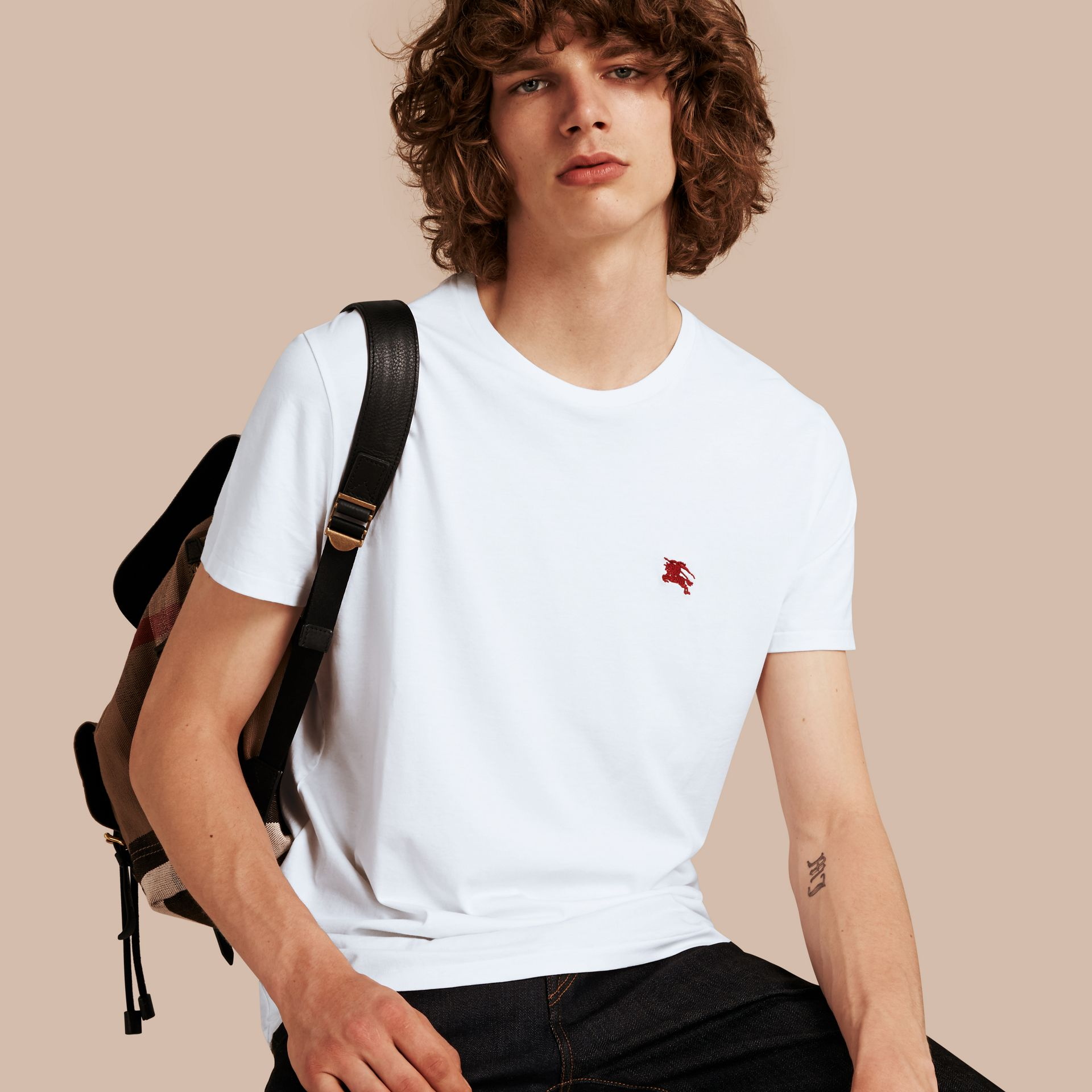Cotton Jersey T-shirt in Optic White - Men | Burberry - gallery image 1