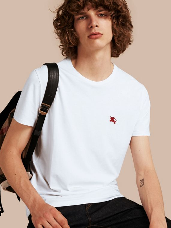 Cotton Jersey T-shirt in Optic White - Men | Burberry Australia