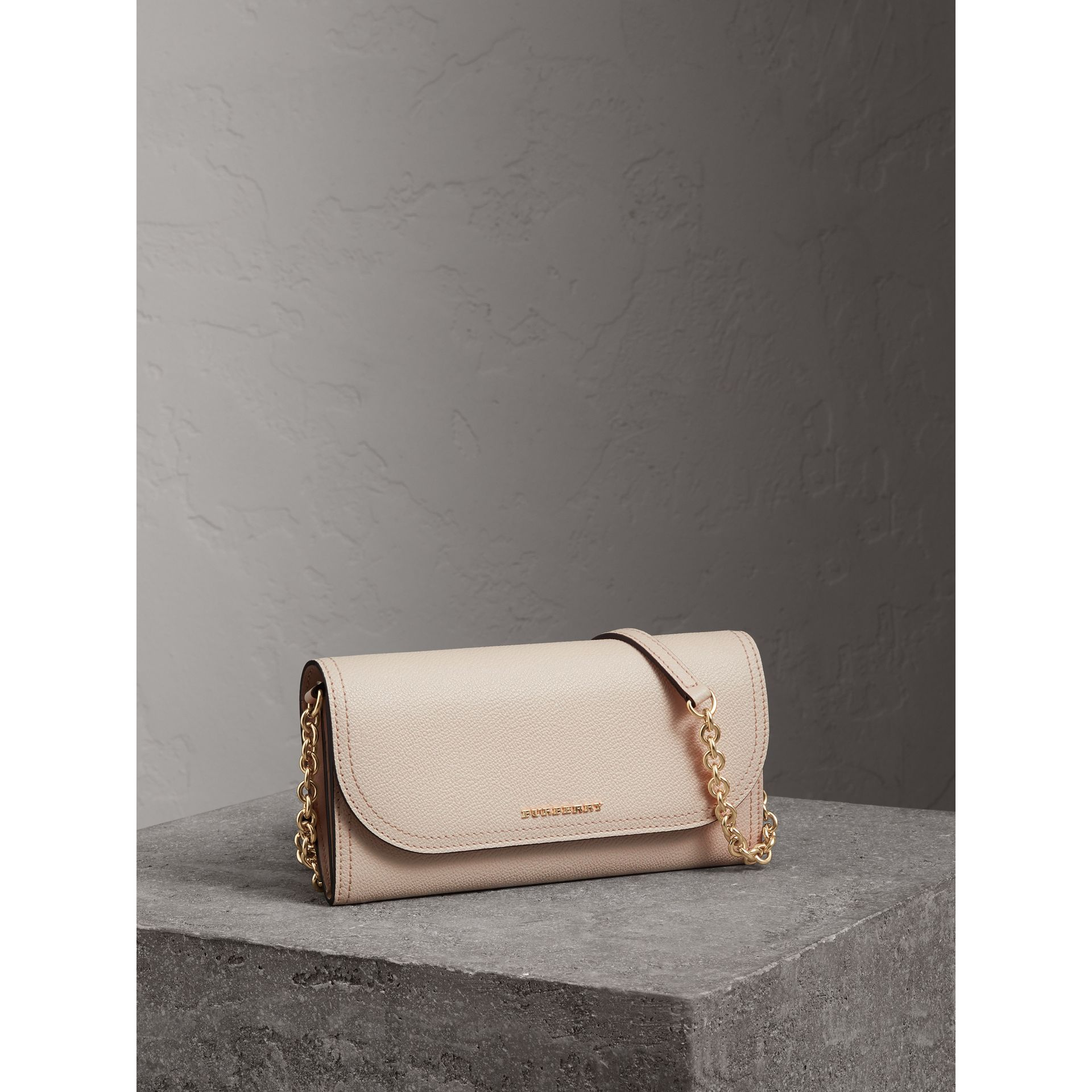 Leather Wallet with Chain in Limestone - Women | Burberry Singapore - gallery image 0