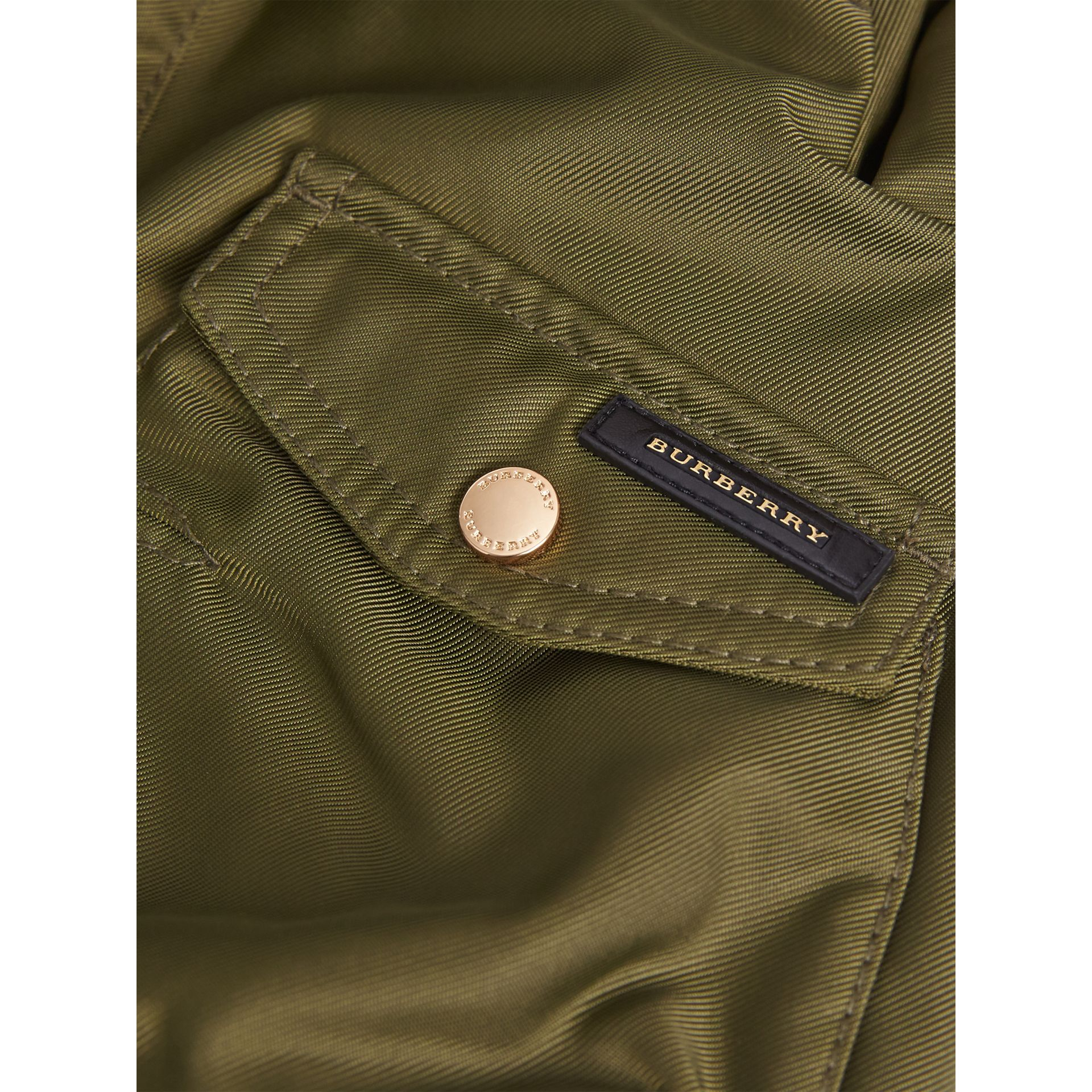 Detachable Fox Fur Trim Hood Technical Twill Bomber Jacket in Caper Green - Boy | Burberry Canada - gallery image 2