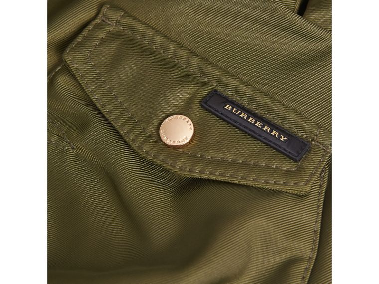 Detachable Fox Fur Trim Hood Technical Twill Bomber Jacket in Caper Green - Boy | Burberry - cell image 1