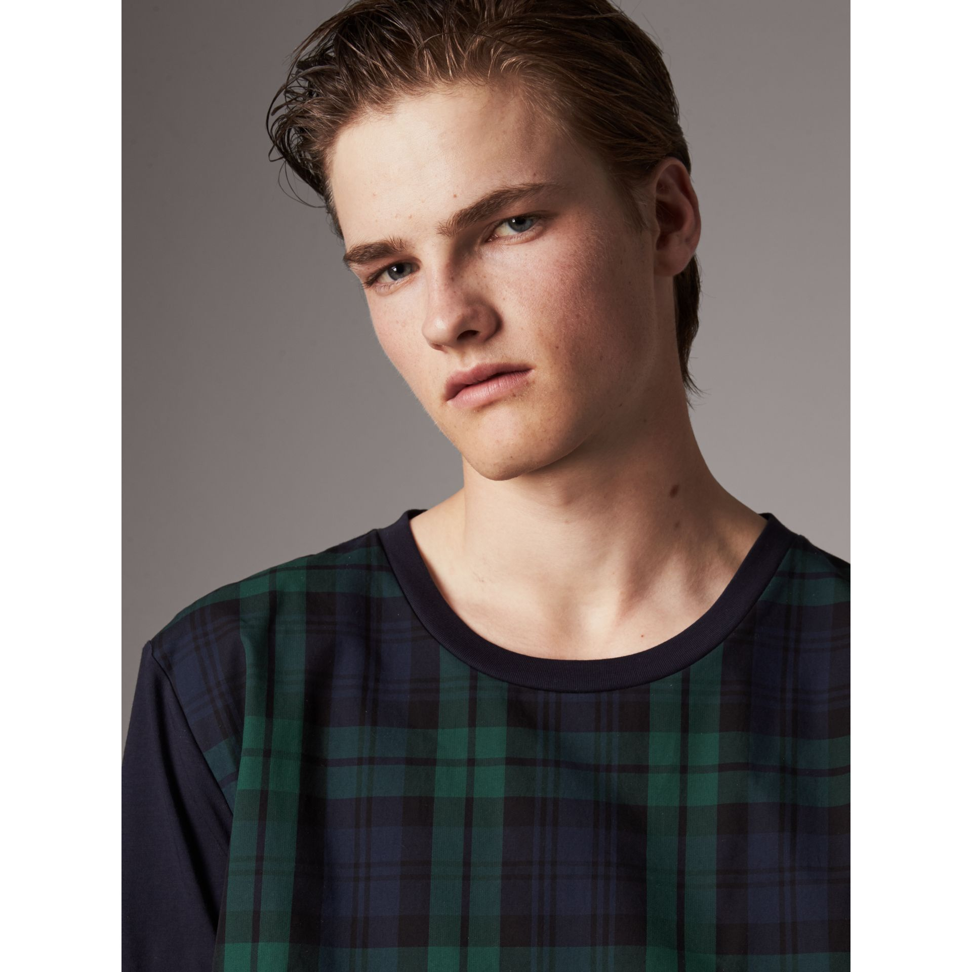 Tartan Panel Cotton T-shirt in Navy - Men | Burberry - gallery image 2
