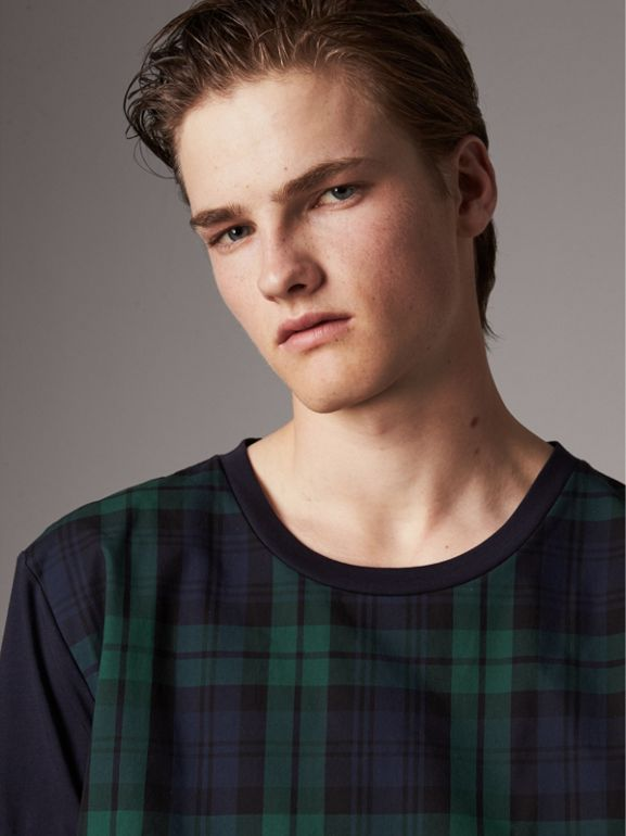 Tartan Panel Cotton T-shirt in Navy - Men | Burberry - cell image 1