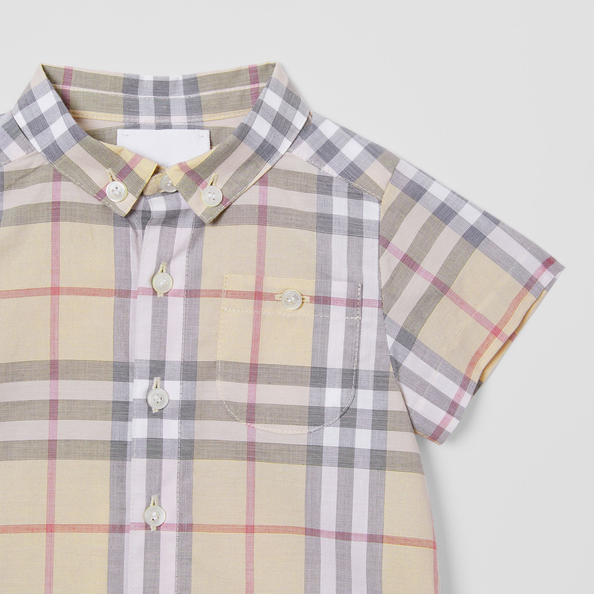 Button-down Collar Short-sleeve Check Cotton Shirt in Pale Stone - Children | Burberry United Kingdom - gallery image 4