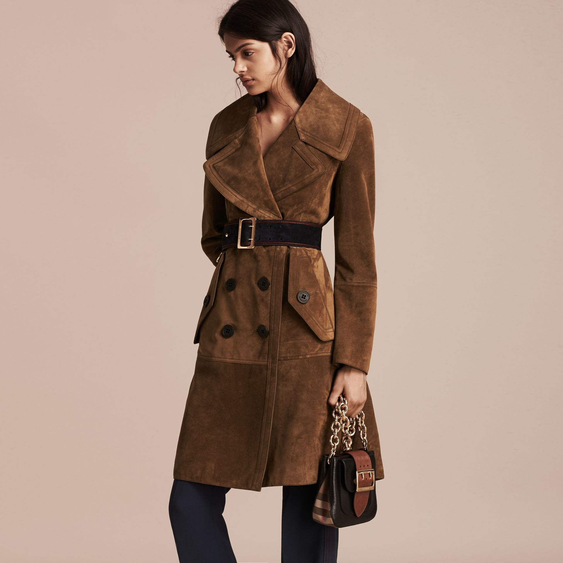 Charcoal brown Double-breasted Suede Coat - gallery image 4