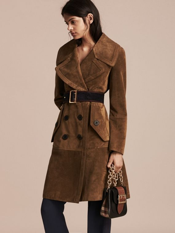 Charcoal brown Double-breasted Suede Coat - cell image 3