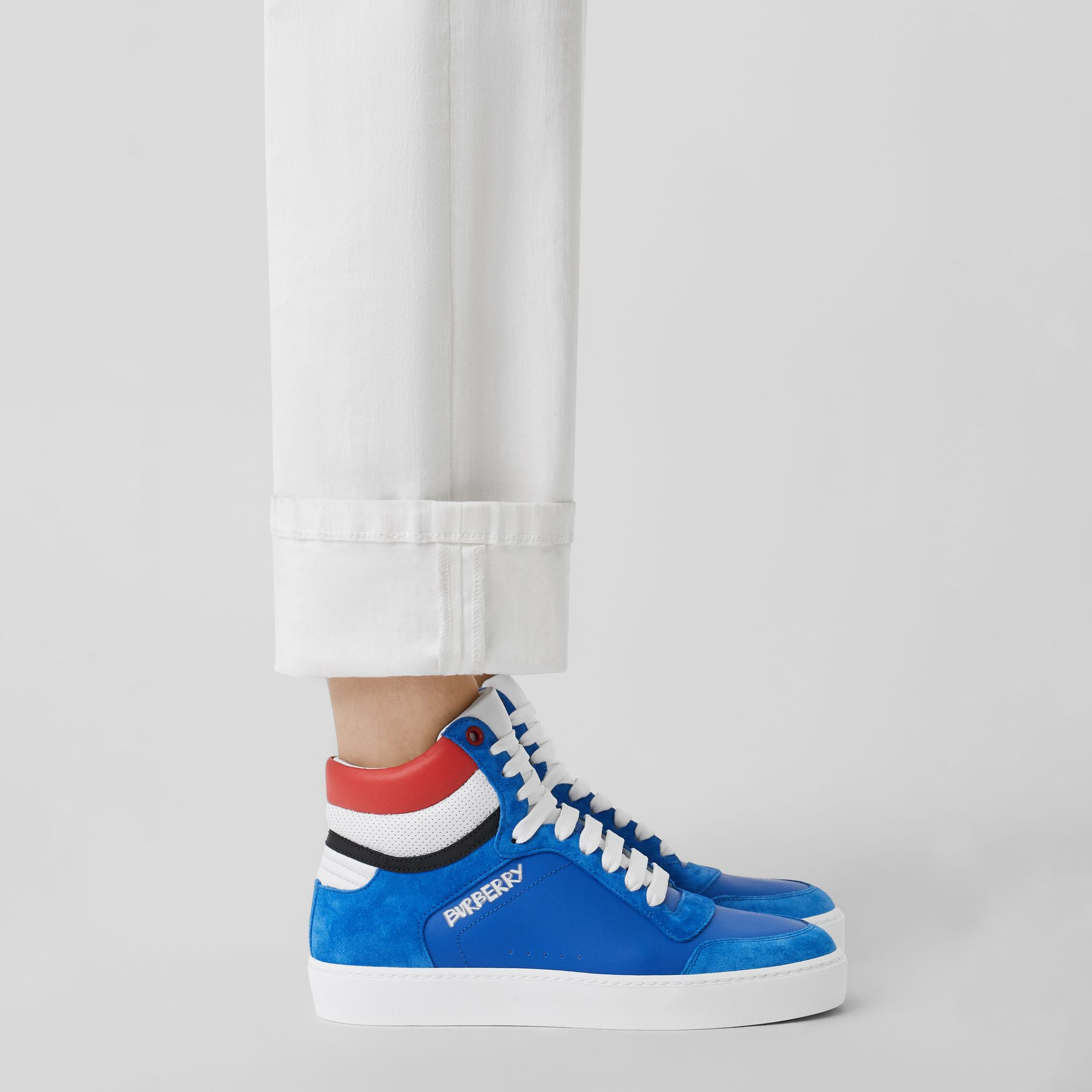 Leather and Suede High-top Sneakers in Bright Sky Blue - Women | Burberry Singapore - gallery image 2