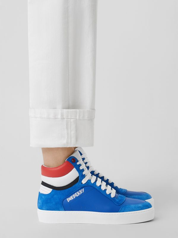 Leather and Suede High-top Sneakers in Bright Sky Blue - Women | Burberry - cell image 2
