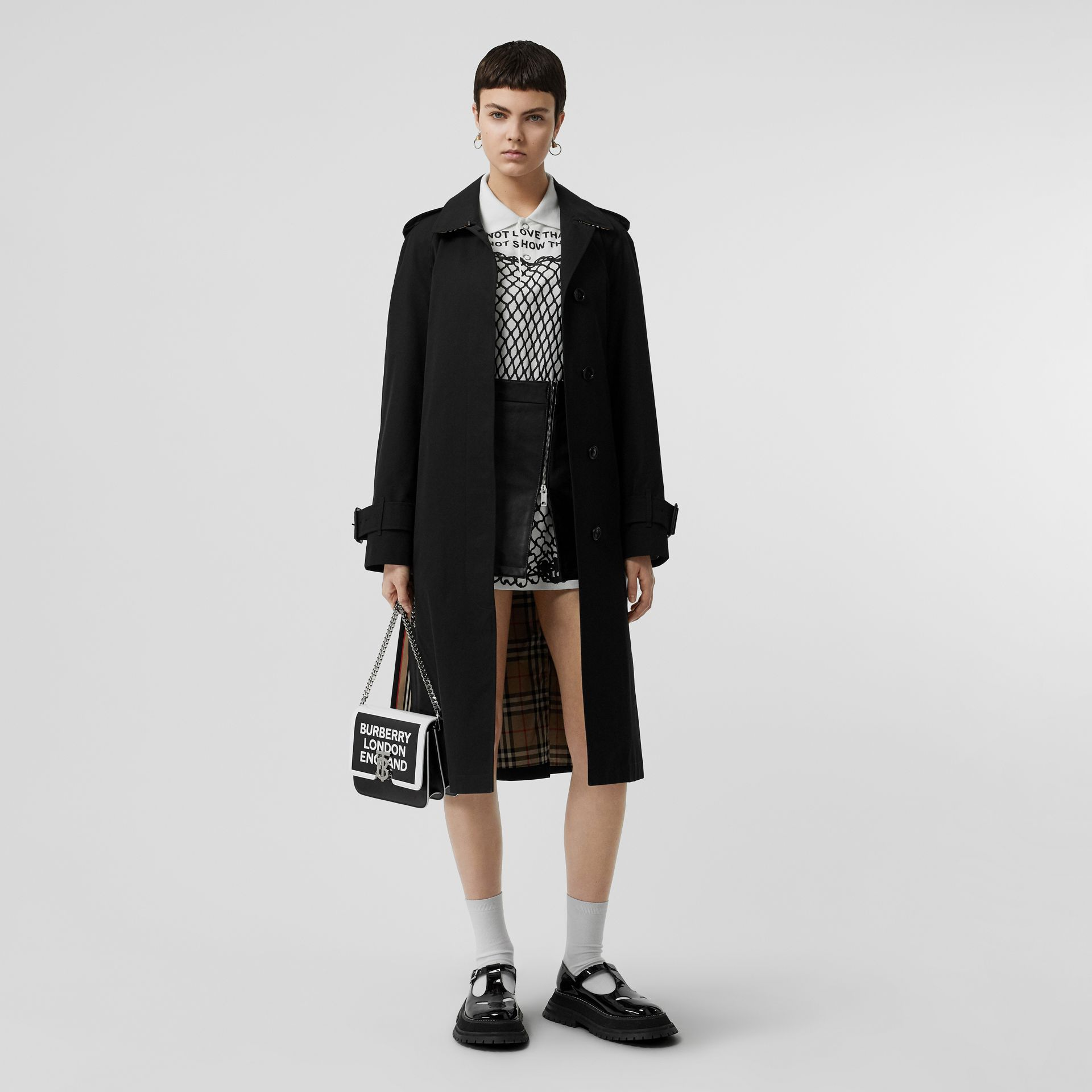 Tropical Gabardine Belted Car Coat in Black - Women | Burberry United States - gallery image 0