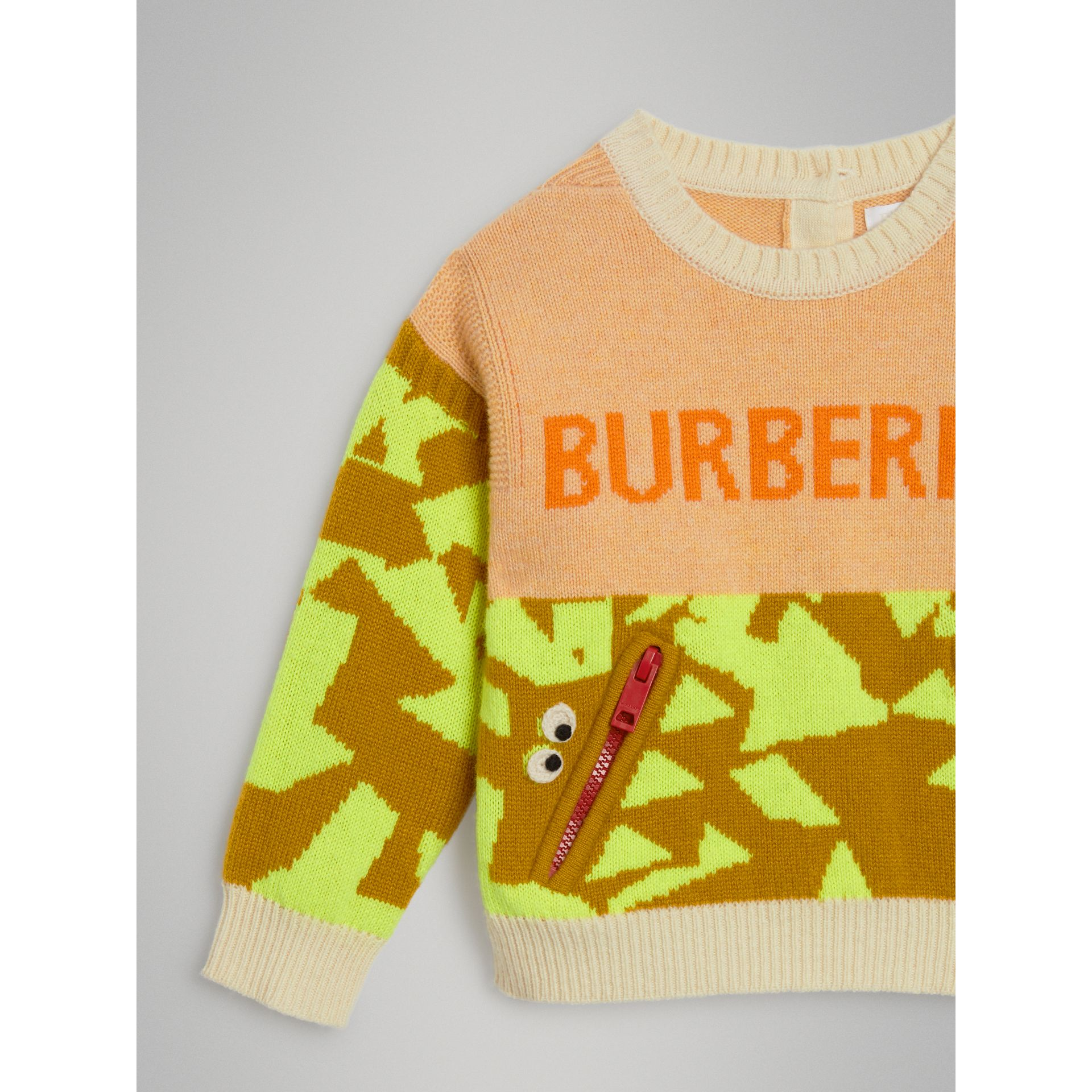 Monster Detail Intarsia Cashmere Sweater in Orange | Burberry United Kingdom - gallery image 4
