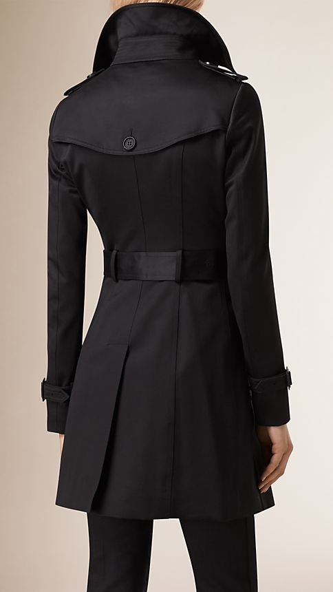 Black Cotton Sateen Trench Coat Black - Image 2