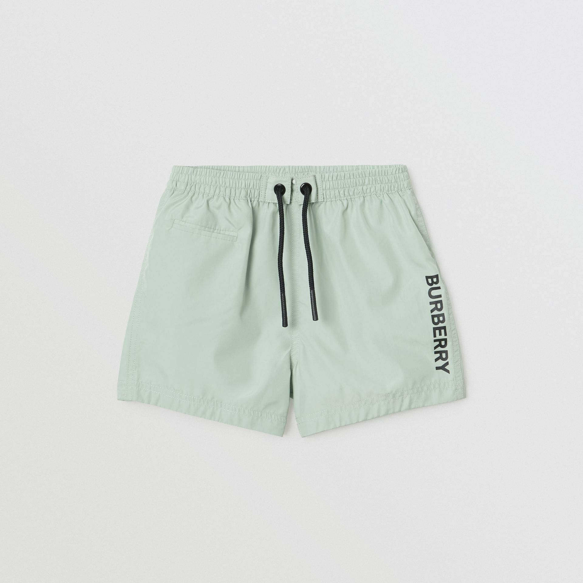 Logo Print Drawcord Swim Shorts in Pale Opal - Children | Burberry Canada - gallery image 0