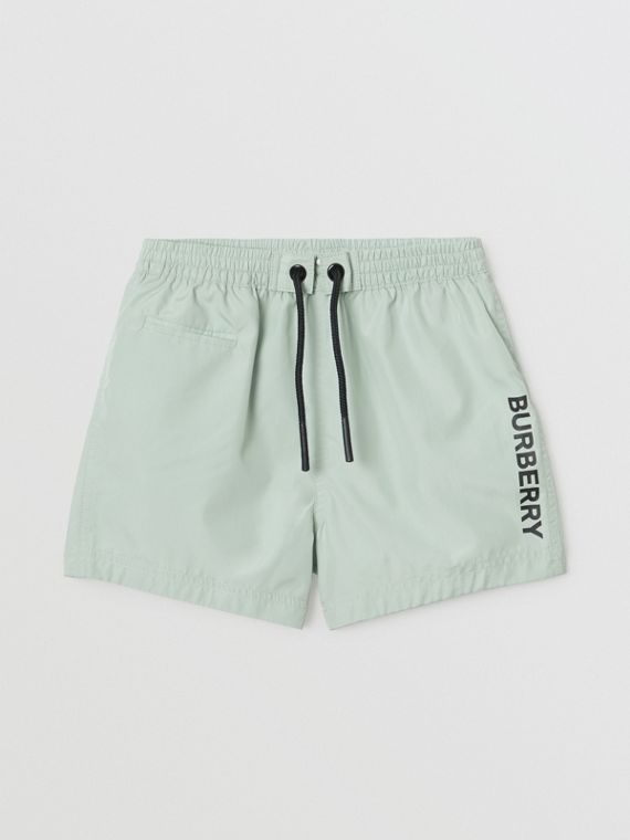 Logo Print Drawcord Swim Shorts in Pale Opal