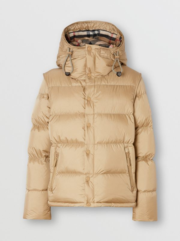 Detachable Sleeve Hooded Puffer Jacket in Honey - Men | Burberry - cell image 3