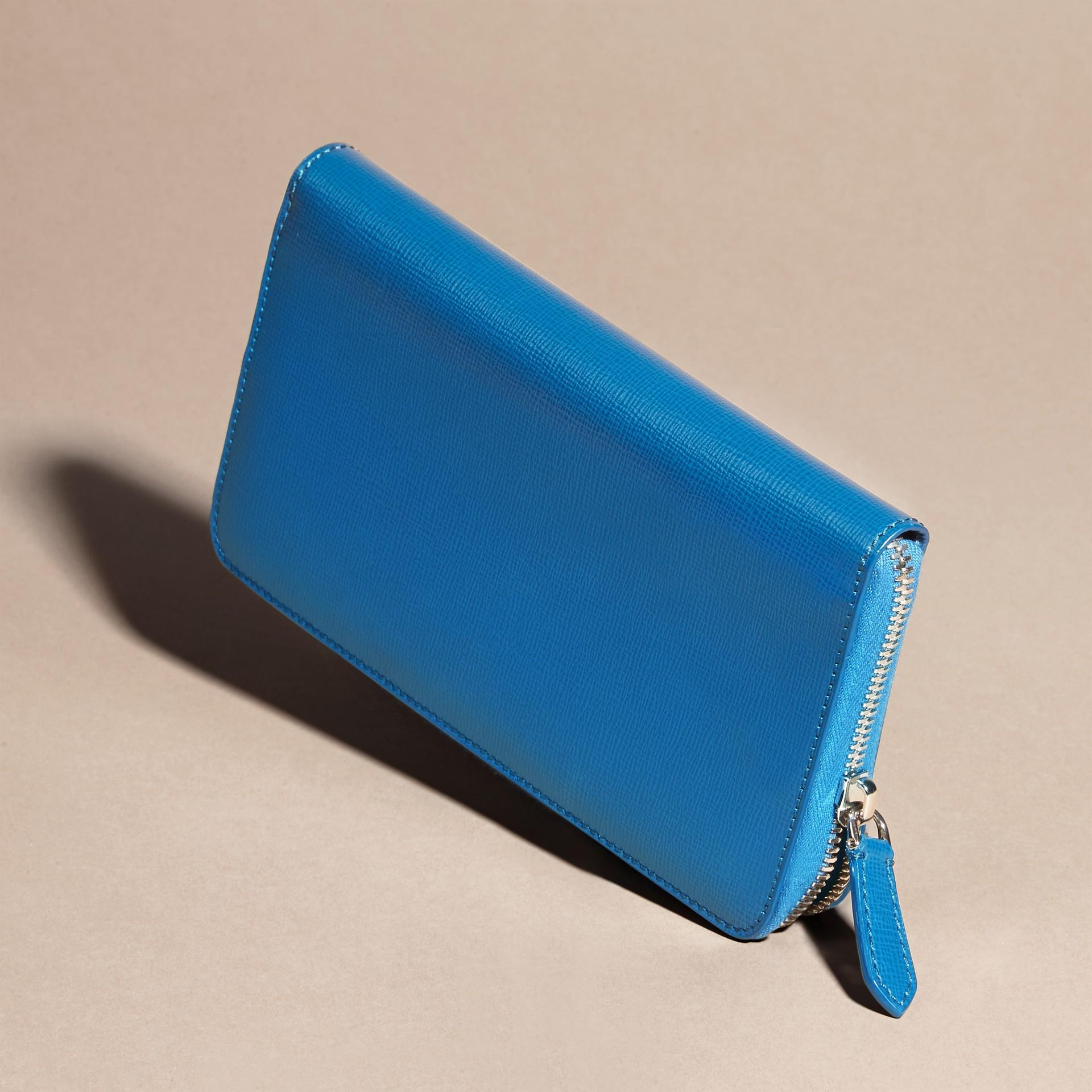 Bleu minéral Portefeuille zippé en cuir London - photo de la galerie 5