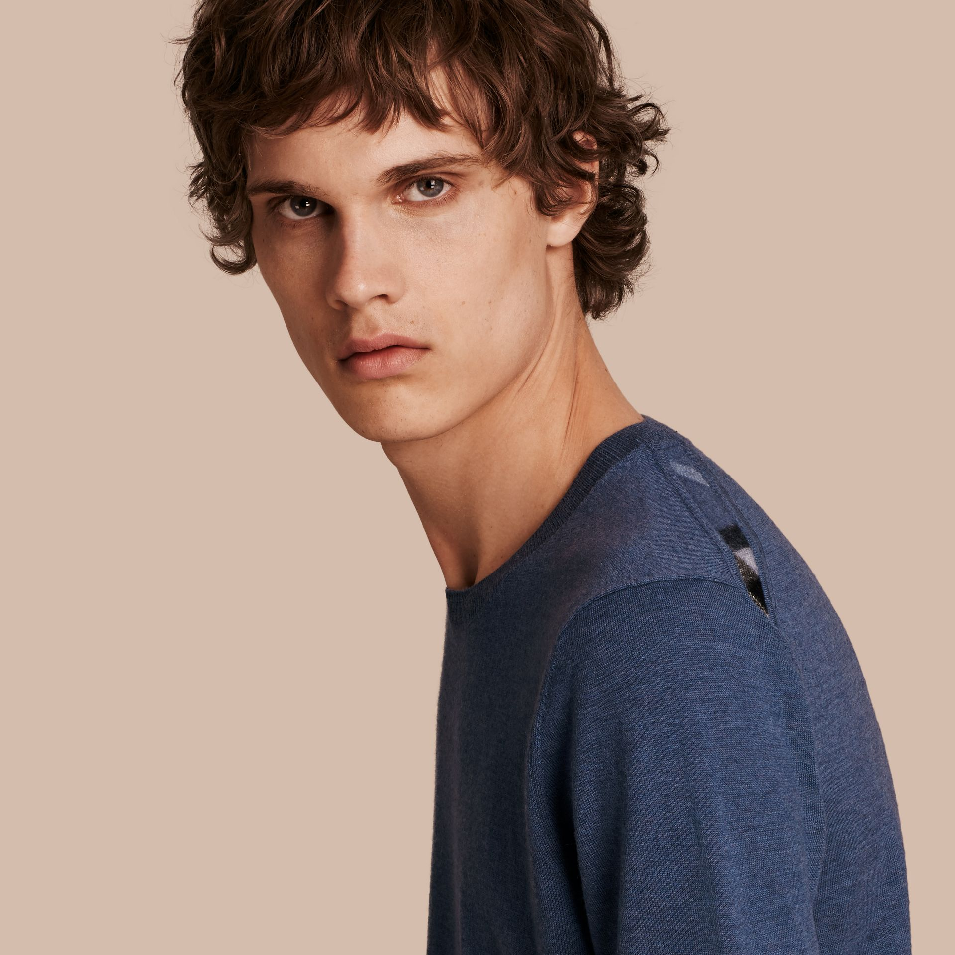 Check Jacquard Detail Cashmere Sweater in Dusty Blue - Men | Burberry Canada - gallery image 1