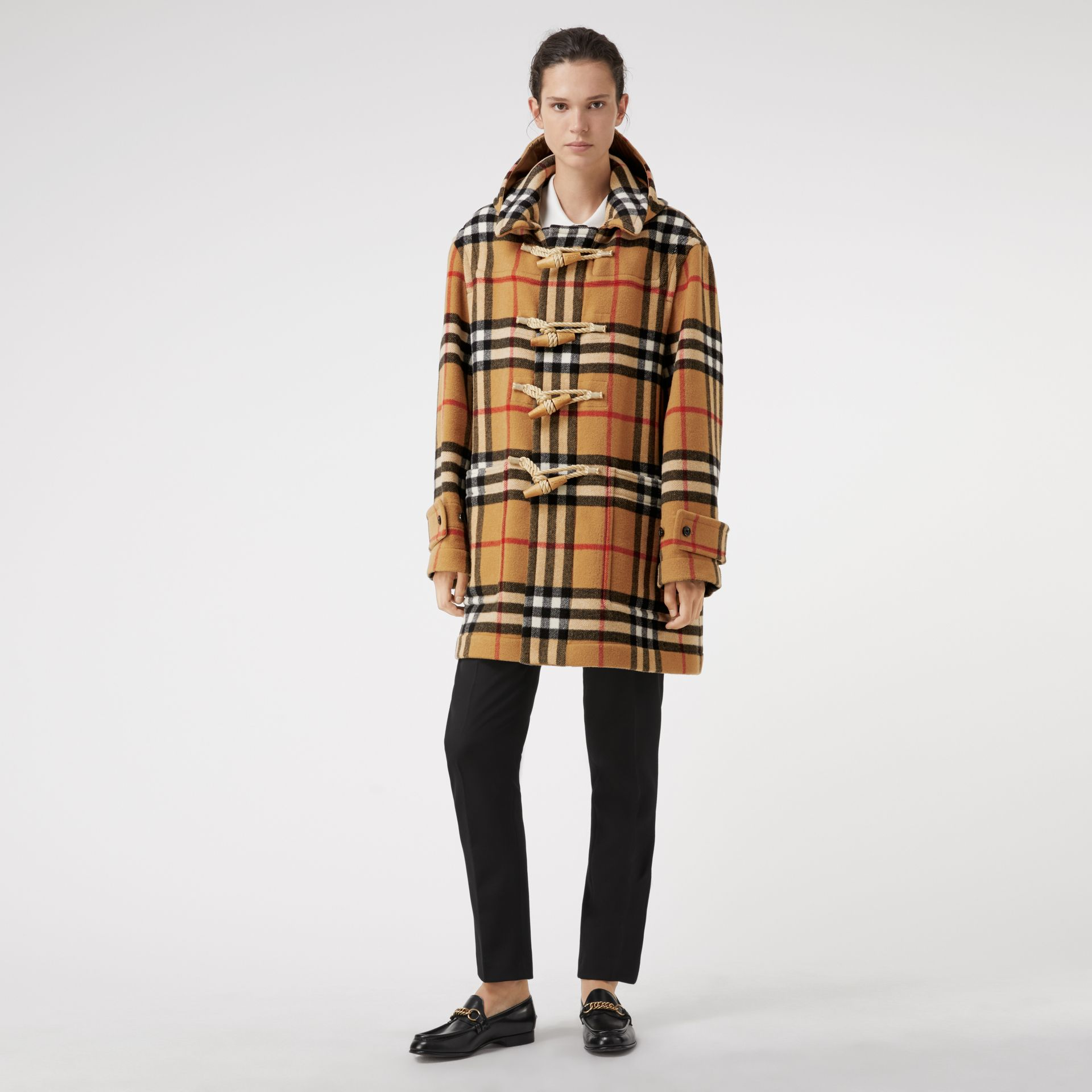 Gosha x Burberry Check Oversized Duffle Coat in Antique Yellow | Burberry Canada - gallery image 2