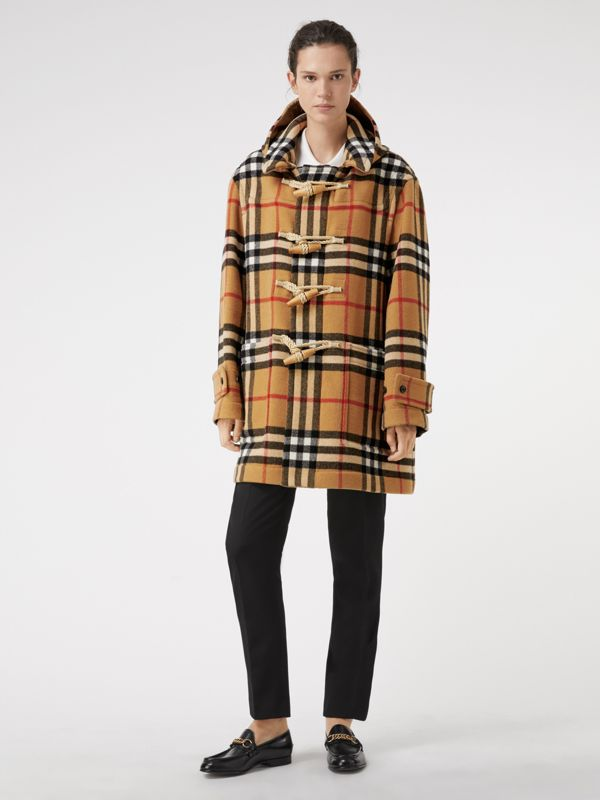 Gosha x Burberry Check Oversized Duffle Coat in Antique Yellow | Burberry United Kingdom - cell image 2