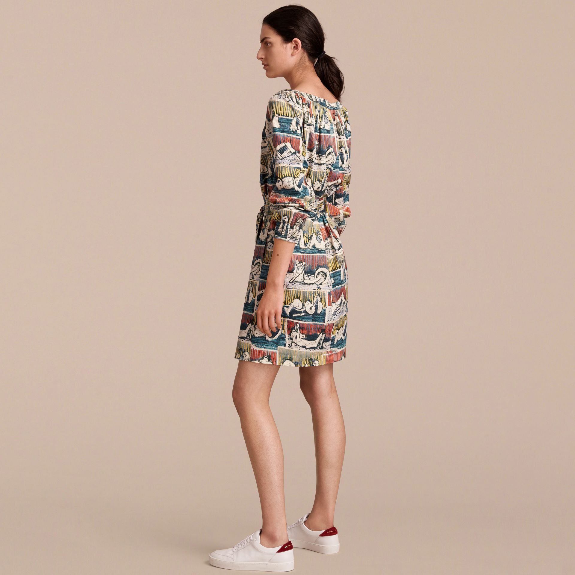 Reclining Figures Print Cotton Tunic Dress in Stone Blue - Women | Burberry - gallery image 3
