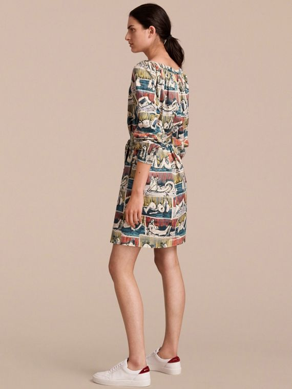 Reclining Figures Print Cotton Tunic Dress in Stone Blue - Women | Burberry - cell image 2