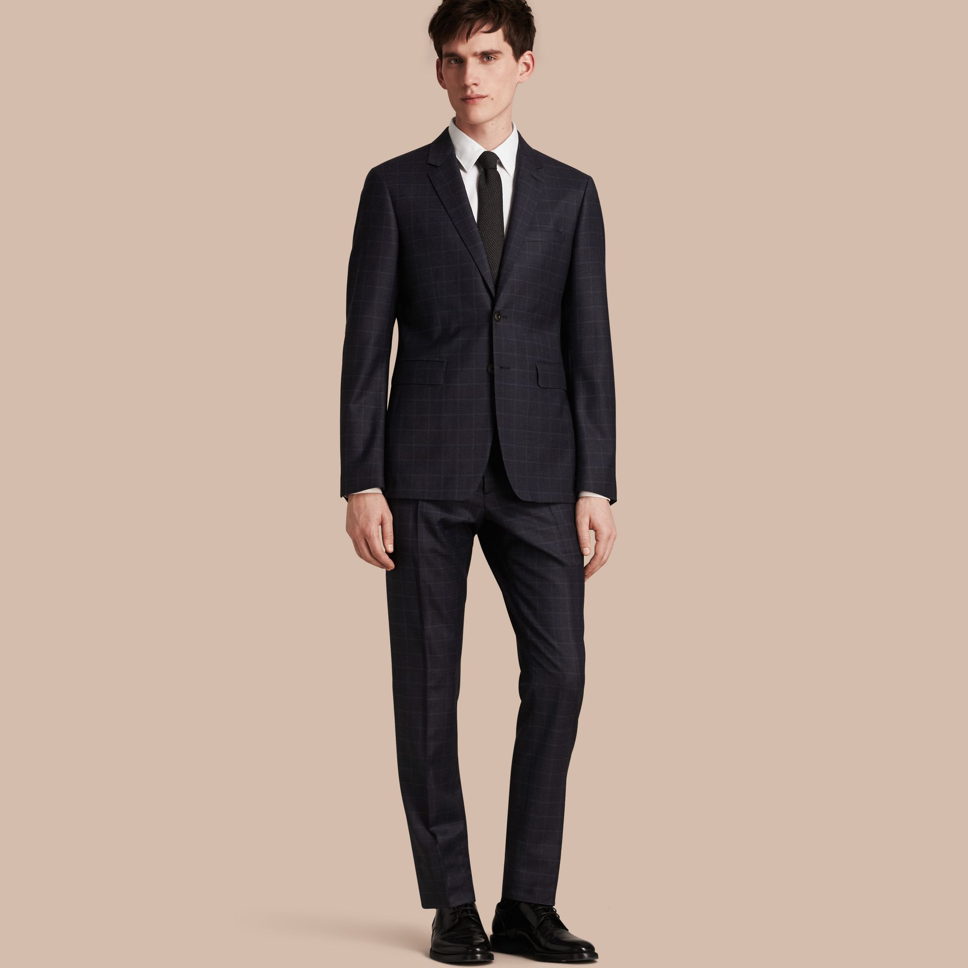 Navy Slim Fit Check Wool Travel Tailoring Suit - gallery image 1