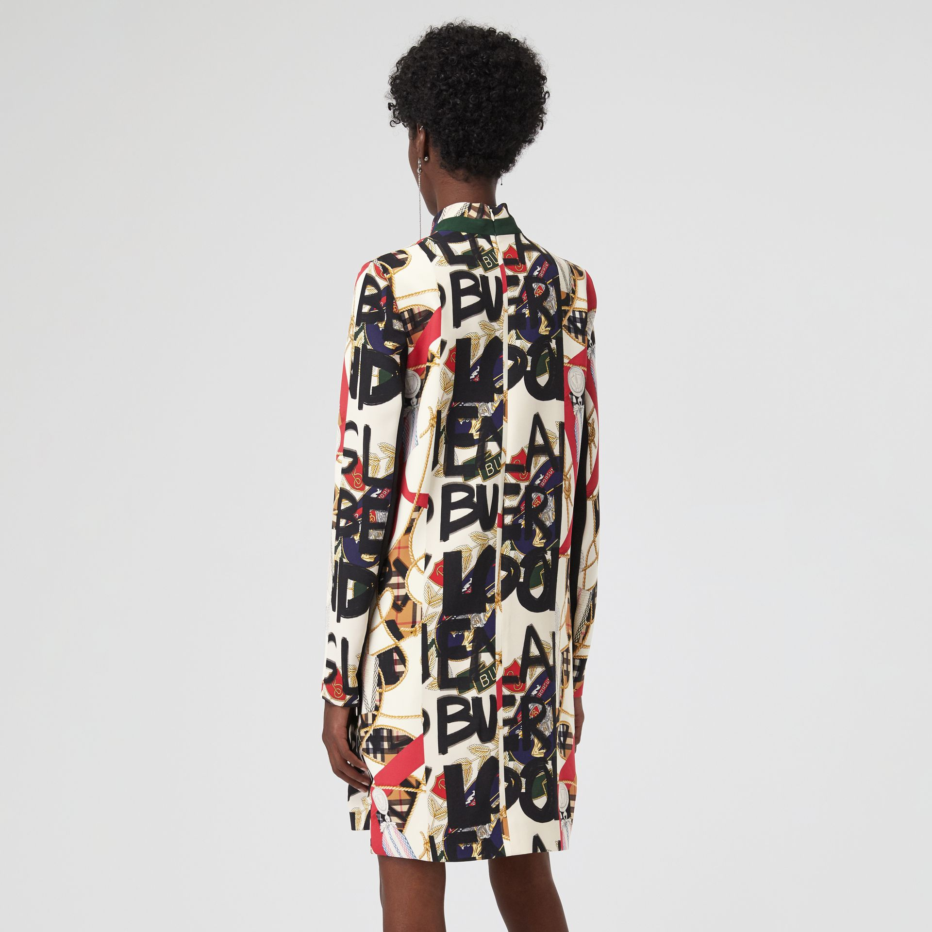 Graffiti Archive Scarf Print Silk Wool Shift Dress in Stone - Women | Burberry Canada - gallery image 2