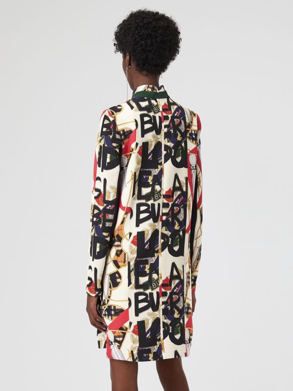 Graffiti Archive Scarf Print Silk Wool Shift Dress in Stone - Women | Burberry - cell image 2