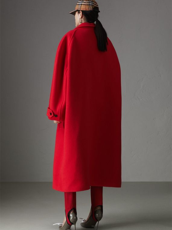 Double-faced Wool Cashmere Oversized Car Coat in Bright Red - Women | Burberry - cell image 2