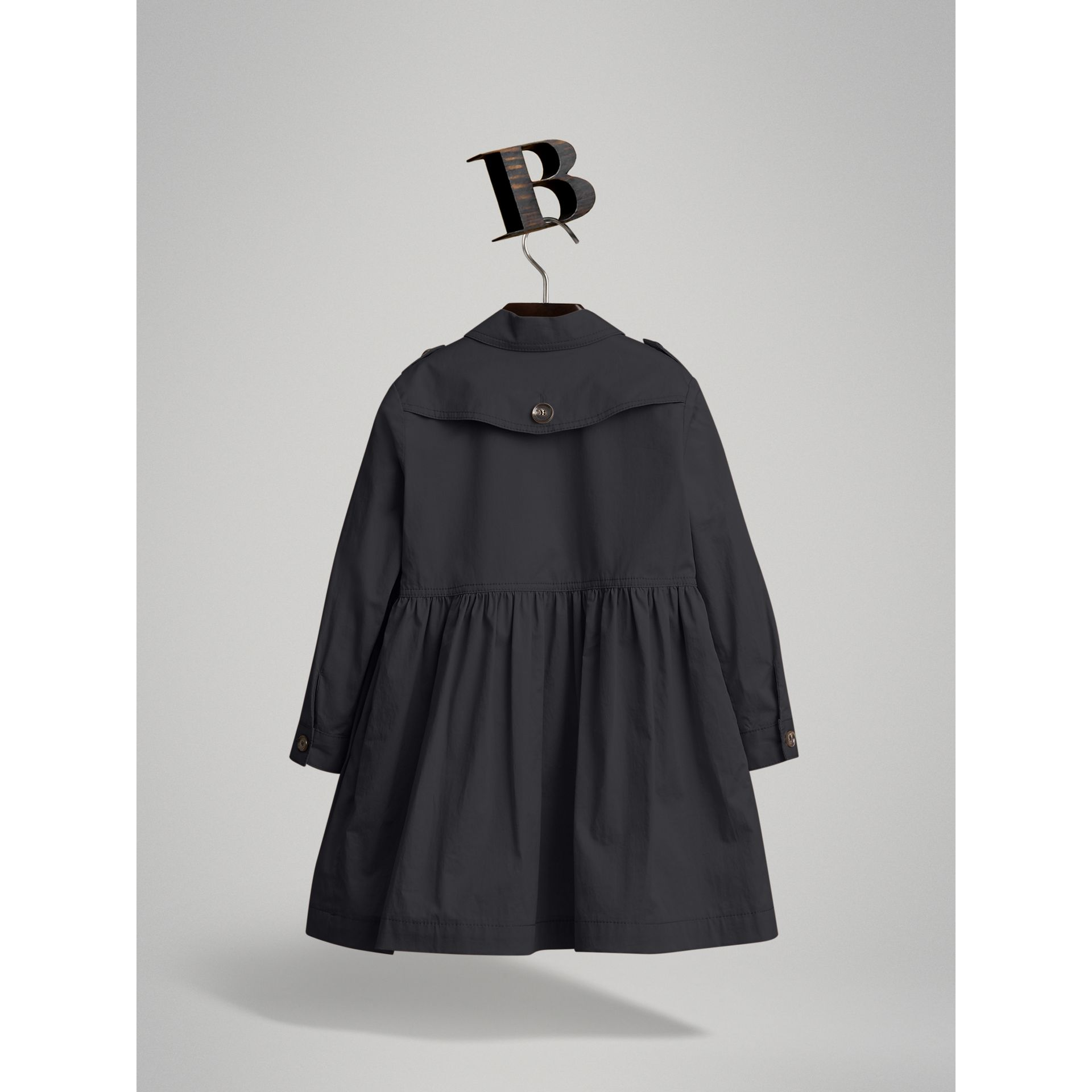 Check Detail Stretch Cotton Trench Dress in Midnight Blue | Burberry - gallery image 2