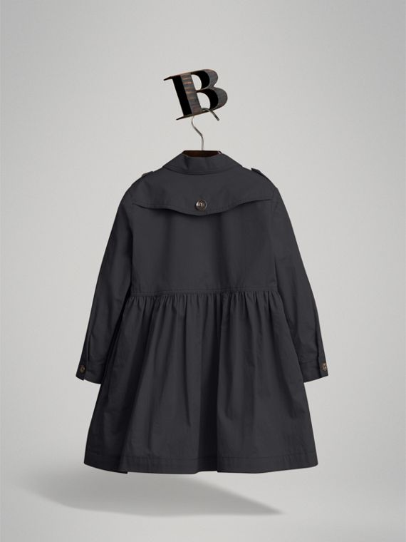 Check Detail Stretch Cotton Trench Dress in Midnight Blue | Burberry United Kingdom - cell image 2