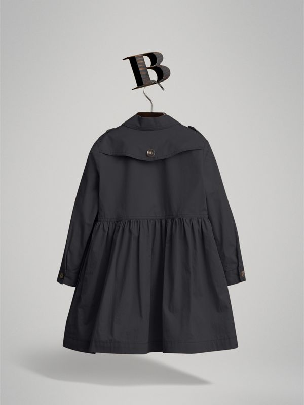 Check Detail Stretch Cotton Trench Dress in Midnight Blue | Burberry - cell image 2