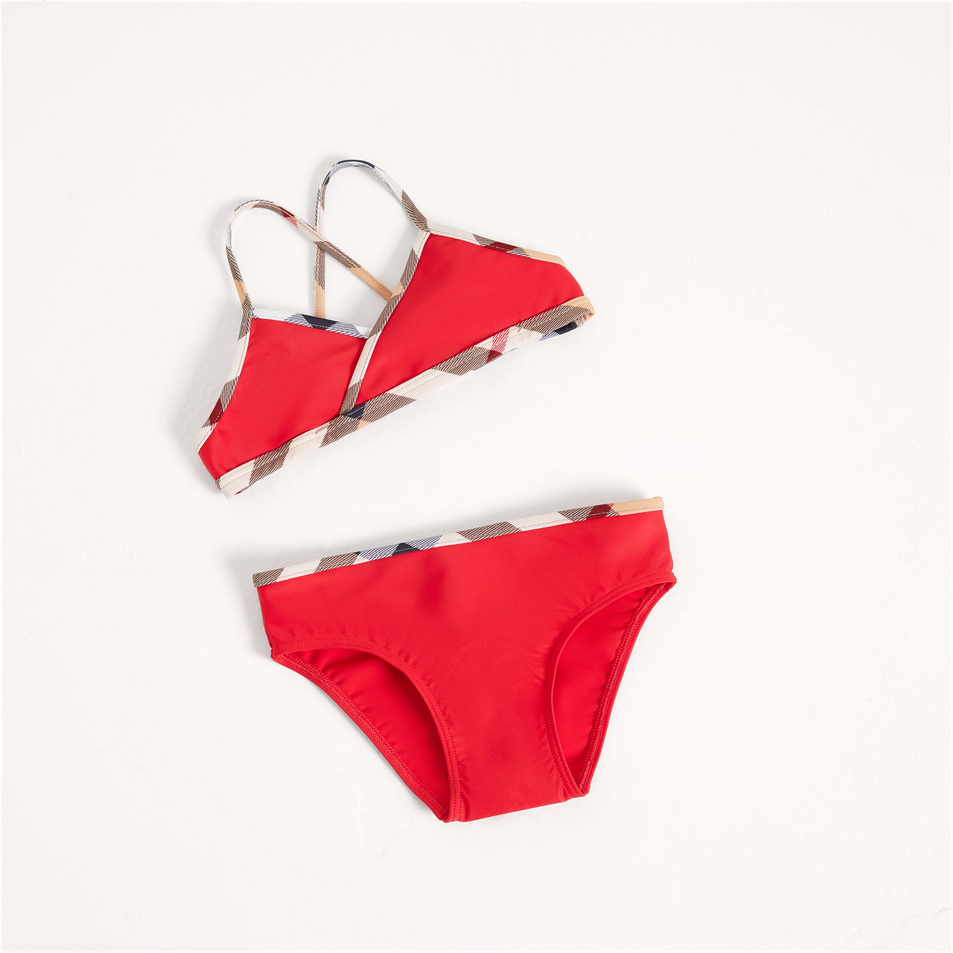 Check Trim Bikini in Poppy Red - Girl | Burberry United Kingdom - gallery image 0
