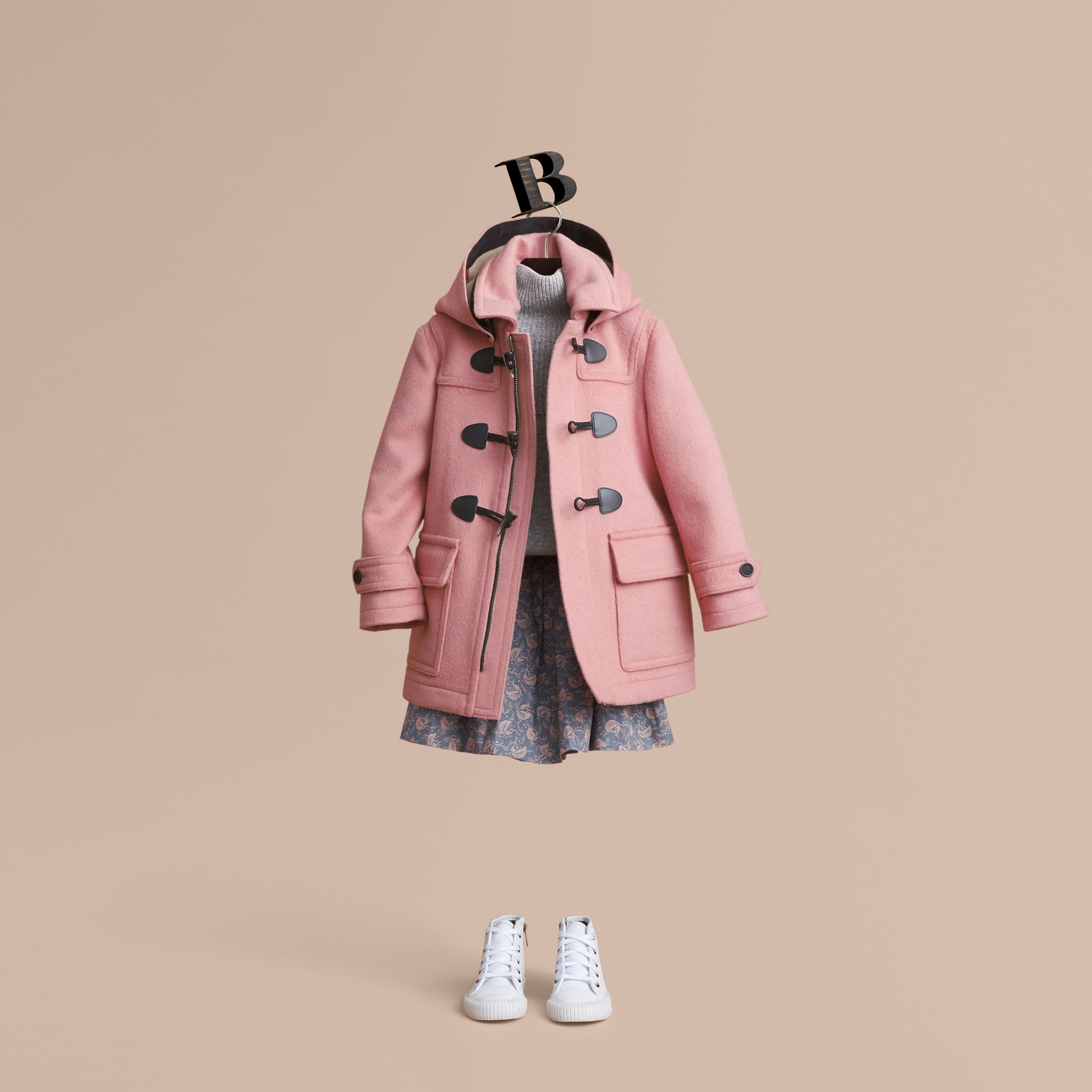 Wool Duffle Coat with Check-lined Hood in Pale Rose - Girl | Burberry - gallery image 1