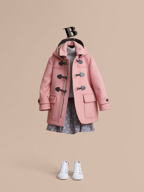 Wool Duffle Coat with Check-lined Hood in Pale Rose