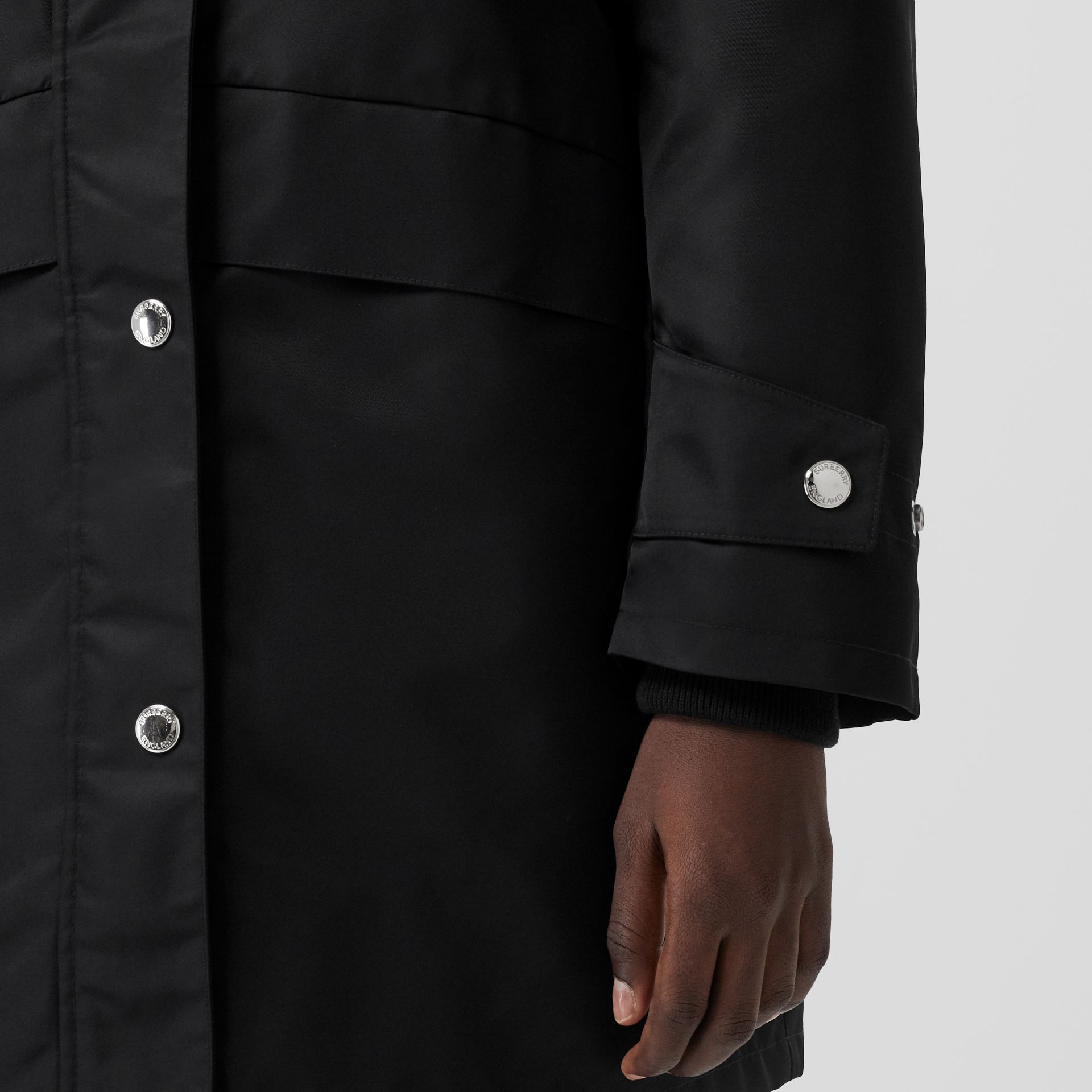 Horseferry Print Nylon Twill Parka in Black - Women | Burberry - gallery image 4