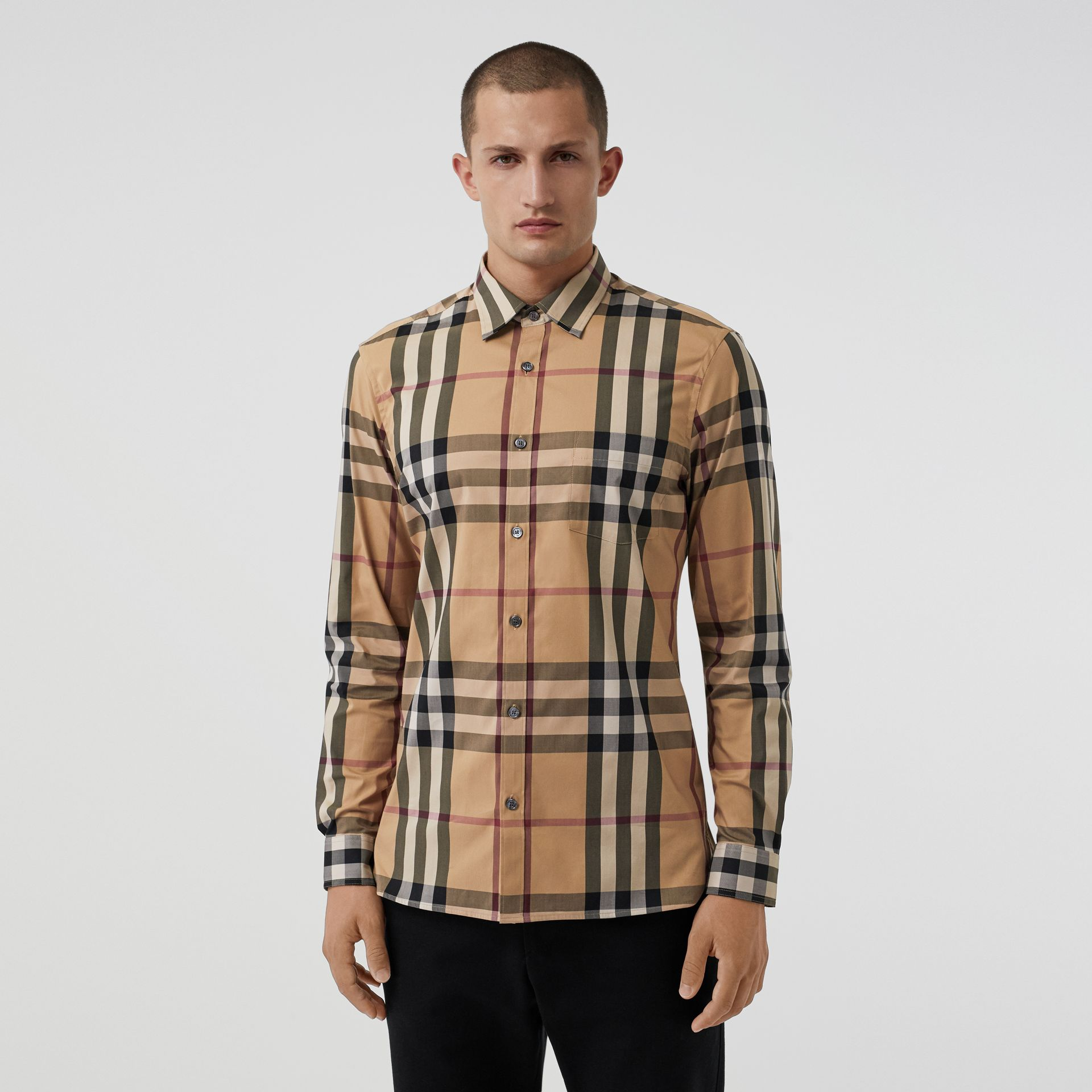 Check Stretch Cotton Shirt in Camel - Men | Burberry United States - gallery image 4