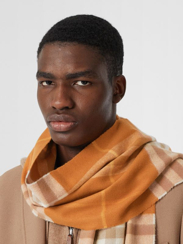 The Classic Check Cashmere Scarf in Bright Melon | Burberry - cell image 2