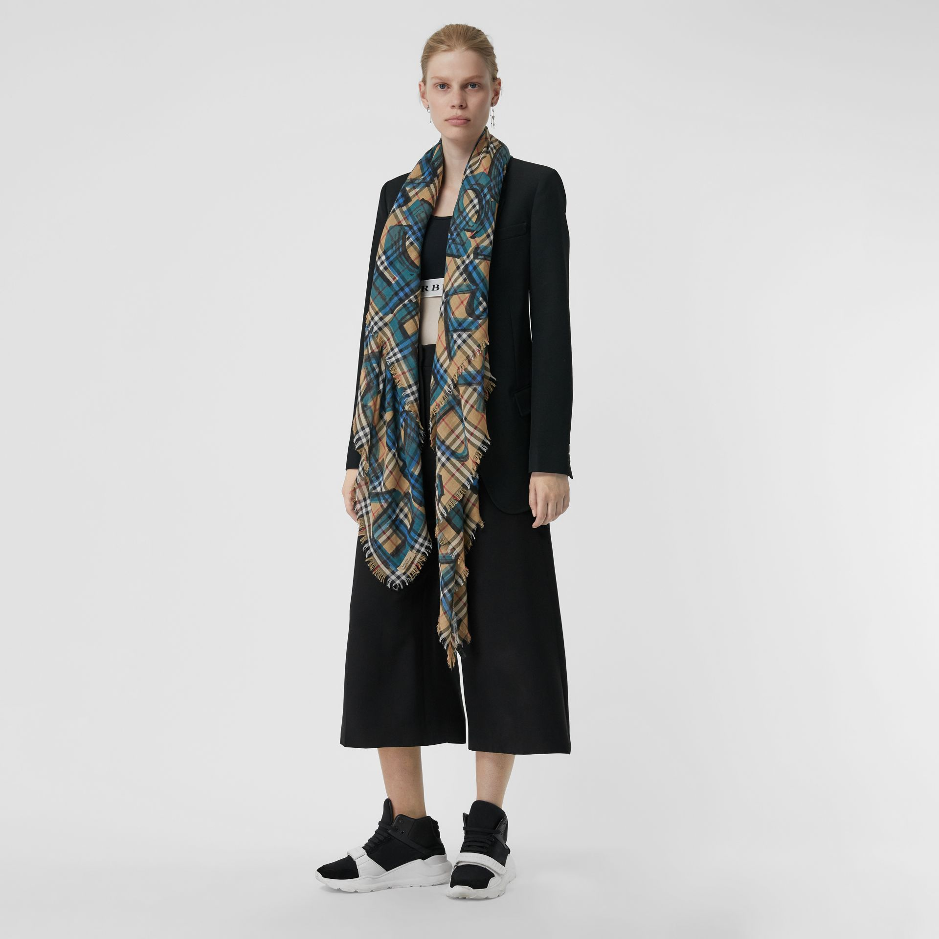 Graffiti Print Check Wool Silk Large Square Scarf in Brilliant Blue | Burberry United Kingdom - gallery image 2
