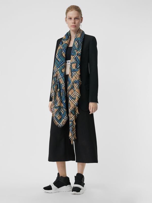 Graffiti Print Check Wool Silk Large Square Scarf in Brilliant Blue | Burberry United Kingdom - cell image 2