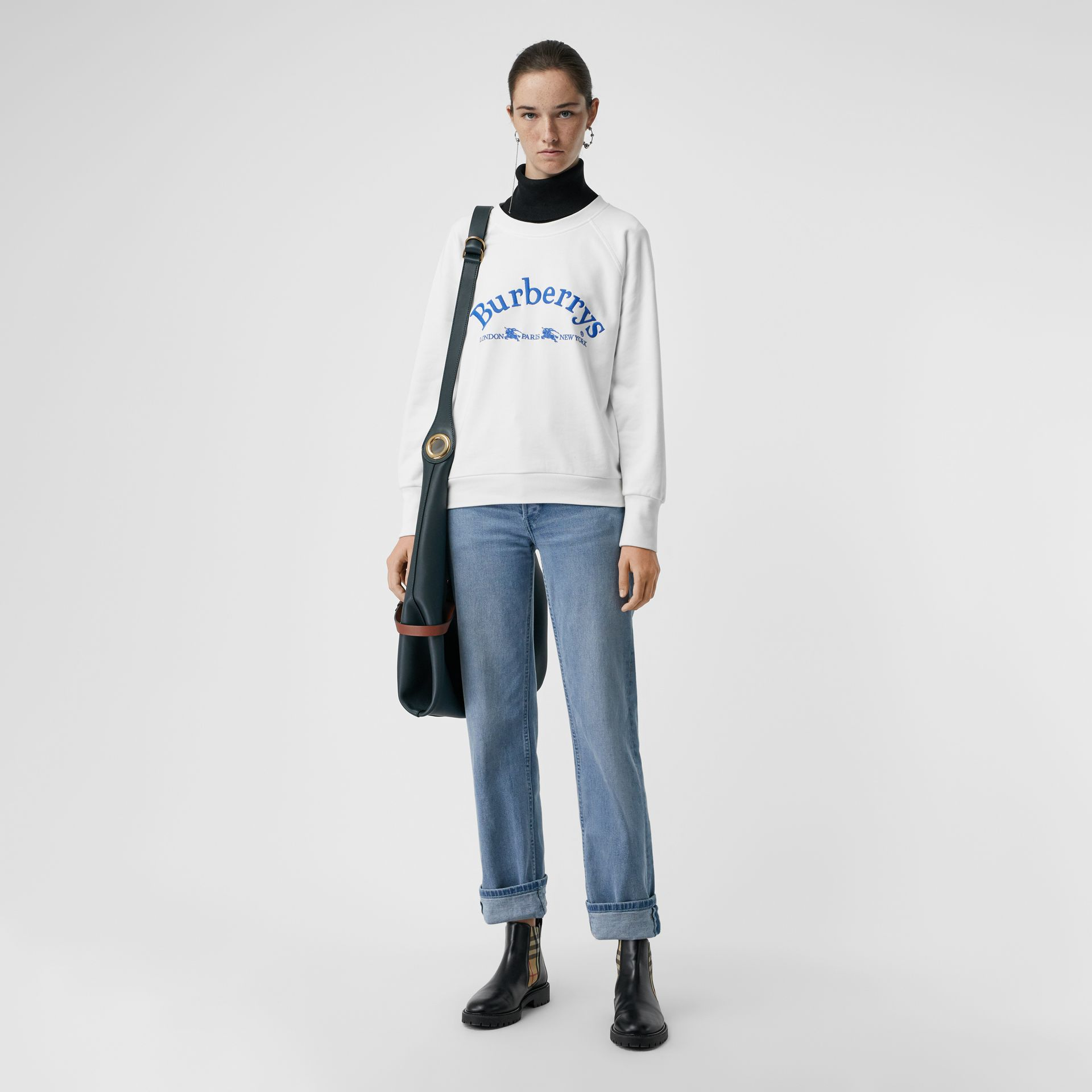Embroidered Archive Logo Jersey Sweatshirt in White - Women | Burberry - gallery image 0