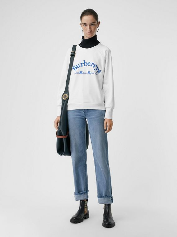 Embroidered Archive Logo Jersey Sweatshirt in White
