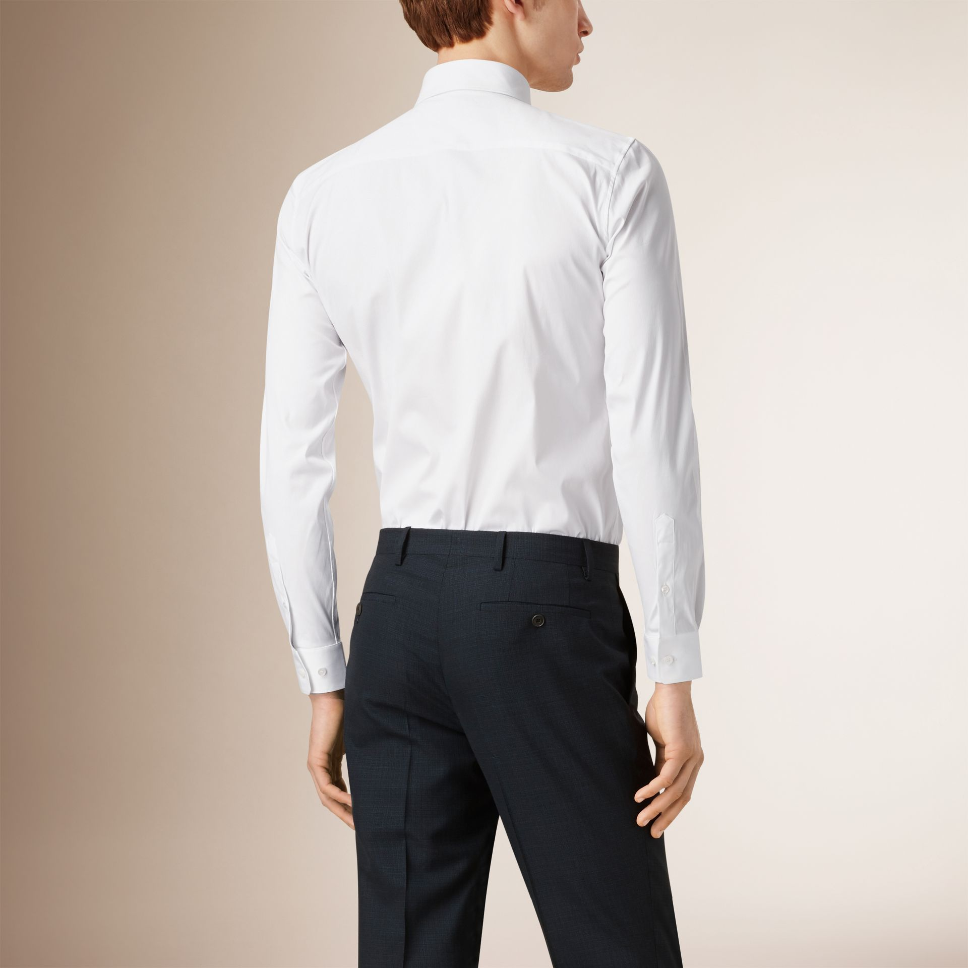 Slim Fit Stretch Cotton Shirt in White - Men | Burberry United States - gallery image 1