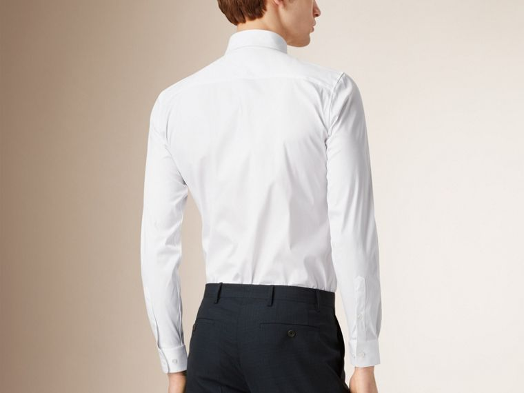 Slim Fit Stretch Cotton Shirt in White - Men | Burberry United Kingdom - cell image 1