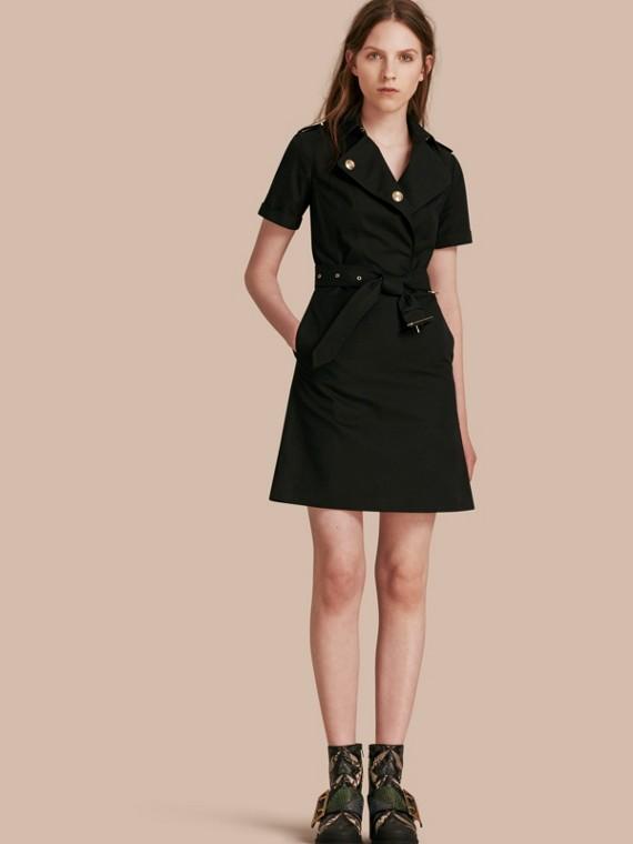 Short-sleeved Cotton Gabardine Trench Dress Black