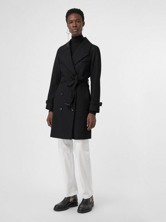 Herringbone Wool Cashmere Blend Trench Coat in Black