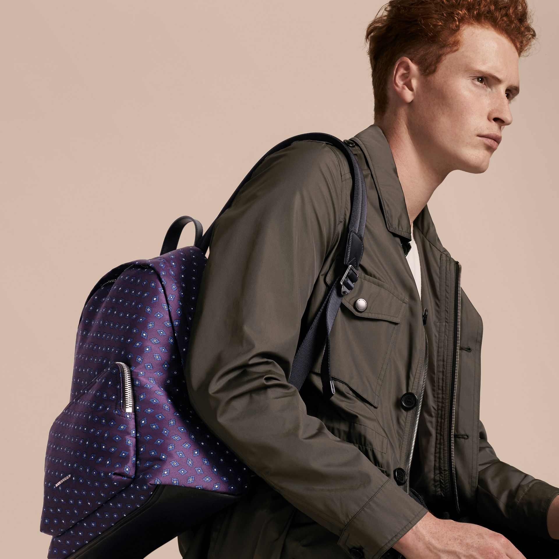 Deep aubergine Leather Trim Tile Jacquard Backpack - gallery image 3