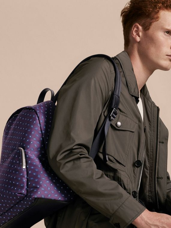 Deep aubergine Leather Trim Tile Jacquard Backpack - cell image 2