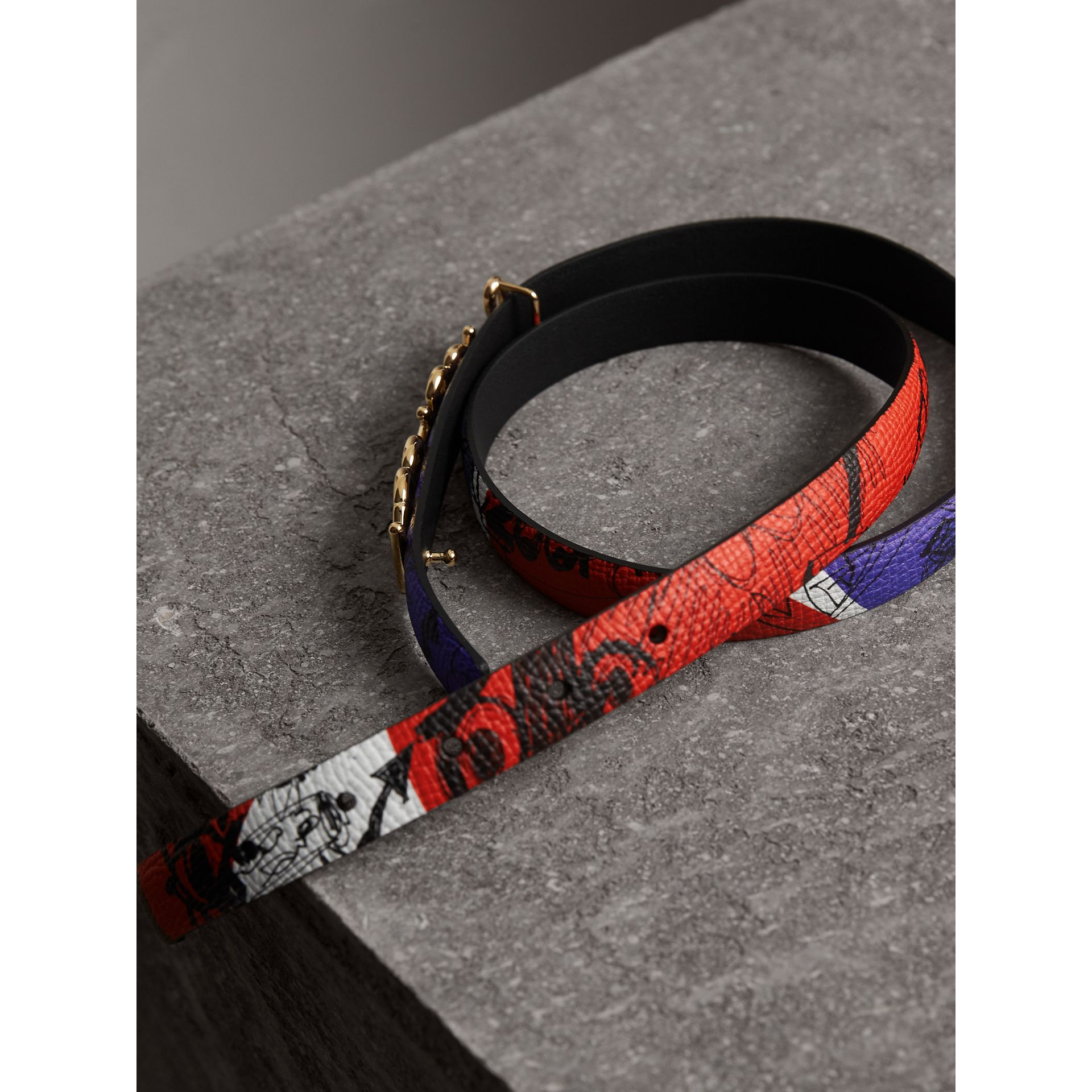 Doodle Detail Reversible Leather Belt in Red/blue - Women | Burberry - gallery image 3